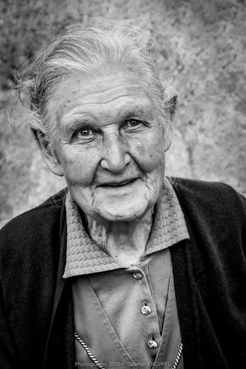 old woman BW 4 Alpine Black & White Black&white Blackandwhite Casual Clothing Country Life Day Expression Face Focus On Foreground Front View Grey Hair Life Experience Looking At Camera Mature Adult Monochrome Old Woman Portrait Outdoors Person Portrait Satisfied