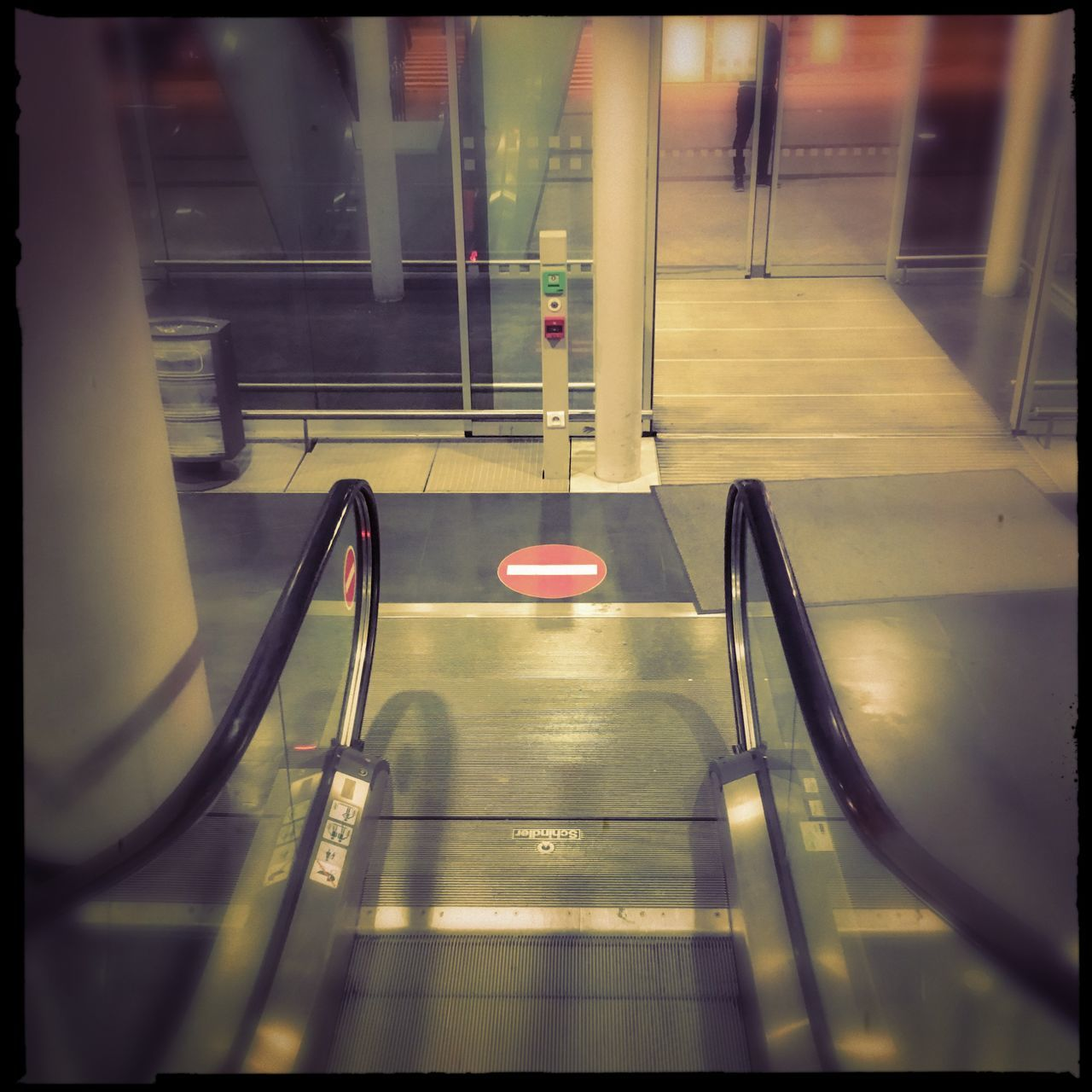 Absence Architecture Auto Post Production Filter Built Structure Empty Escalator High Angle View Illuminated Indoors  Motion No People On The Move Railing Reflection Staircase Steps Steps And Staircases The Way Forward Transfer Print Transportation