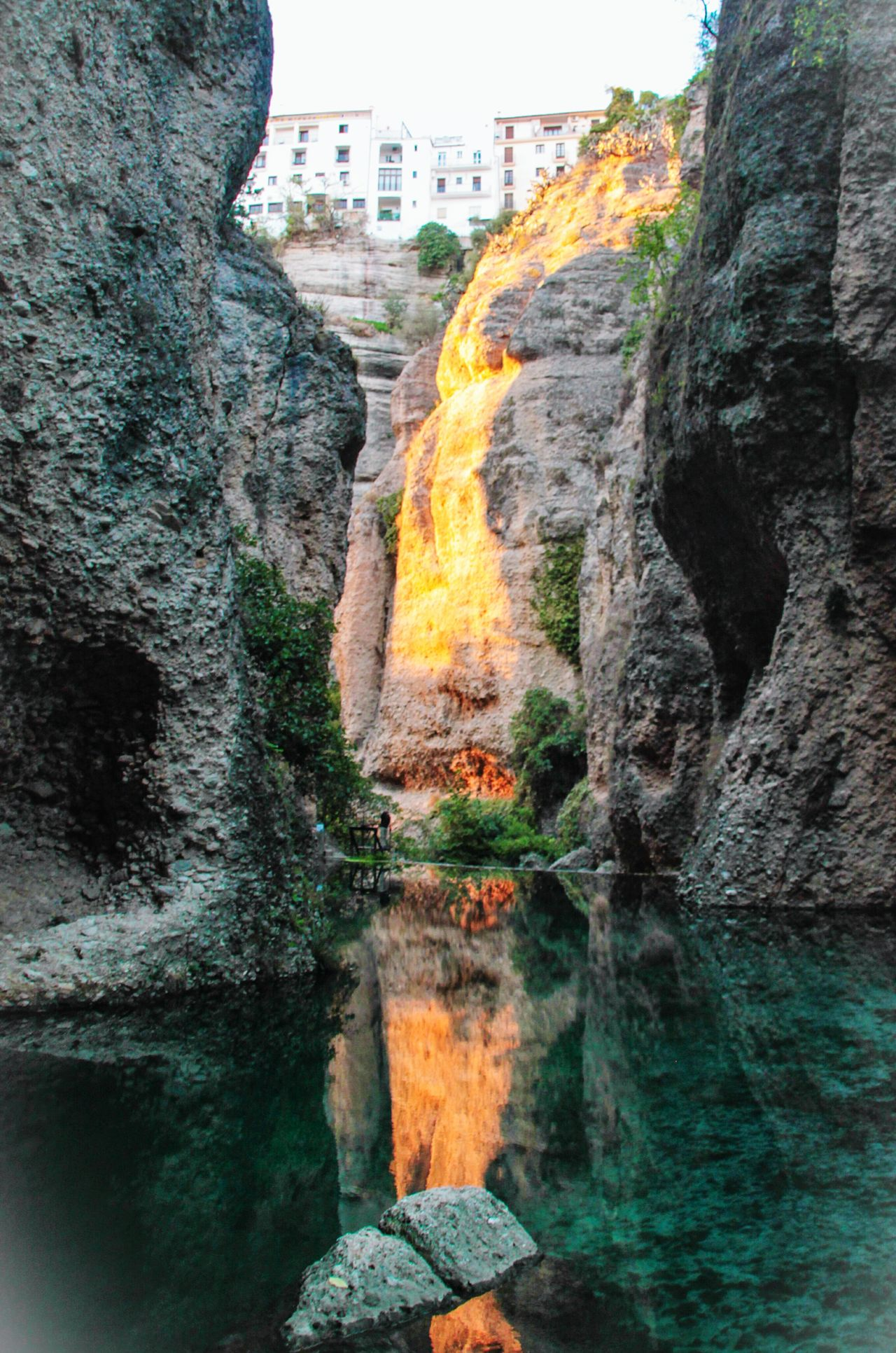 Reflection Outdoors Building Exterior Day Sky No People Water Spanishphotographer Ronda Spain Ronda Ronda, Malaga EyeEm Gallery Check This Out Rocks And Water Rock Formation Reflections On The Water Reflection In The Water Travel Evening Light Cliff