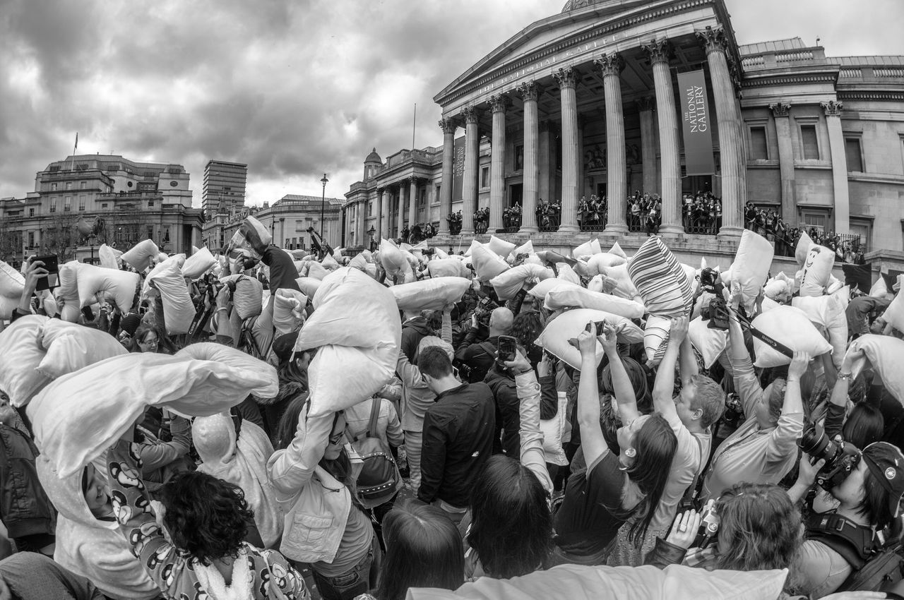 London Pillow Pillowfightday Trafalgar Square Urban City Blackandwhite Photography Photo Action Check This Out Fisheye Architecture Building Structure Crowd Event EventPhotography Good Times Showcase April