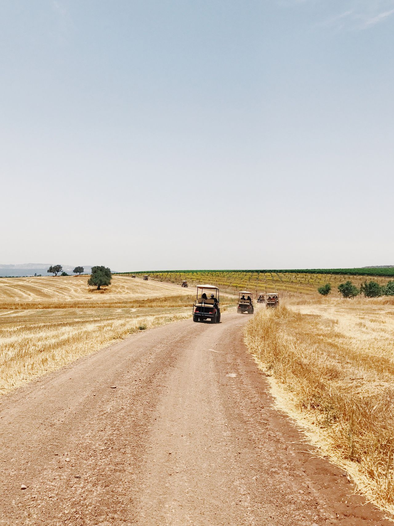 The Great Outdoors - 2017 EyeEm Awards Field Landscape Transportation Copy Space Day Rural Scene Car Road Clear Sky Nature Scenics 4x4 No People Outdoors Off-road Vehicle Sky Beauty In Nature IPhone7Plus מייאייפון7 Shotoniphone7plus מייטיולעבודה