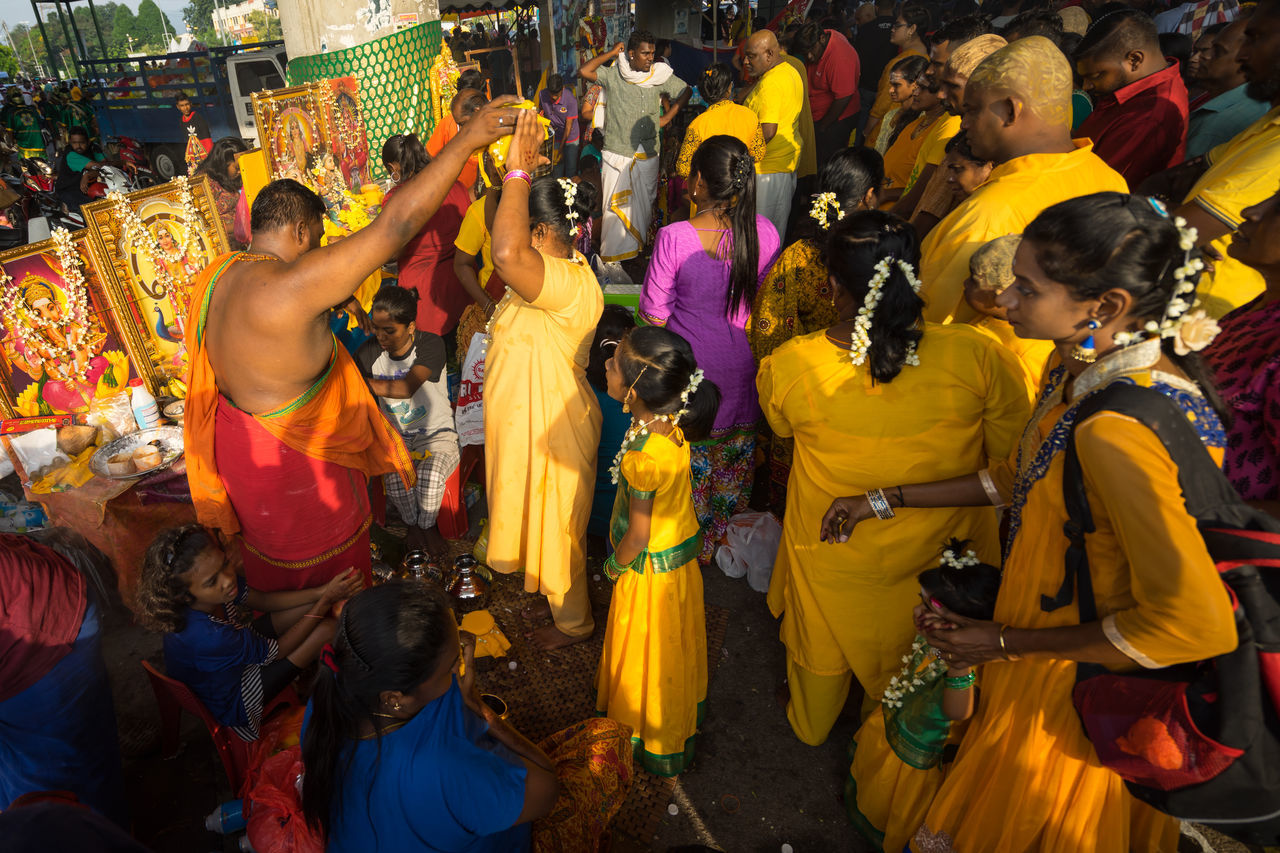 BATU CAVES, MALAYSIA - 9TH FEBRUARY 2017; Hindu devotees performing a pray session during Thaipusam festival in Batu Caves temple, celebrating Lord Murugan victory over the demon Soorapadman. Adult Adults Only Annual Event Batu Caves -Malaysia Crowd Dancing Hinduism Men Outdoors People Religion Thaipusam 2017 Women