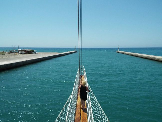 Where the river meets the sea Day Trip Travel Photography Travel Destinations Tourist Attraction  Tourism Blue Sky Blue Water Sea River Mediterranean Sea Manavgat River River Mouth Mouth Of Manavgat River Mouth Of The River Bowsprit People On The Way