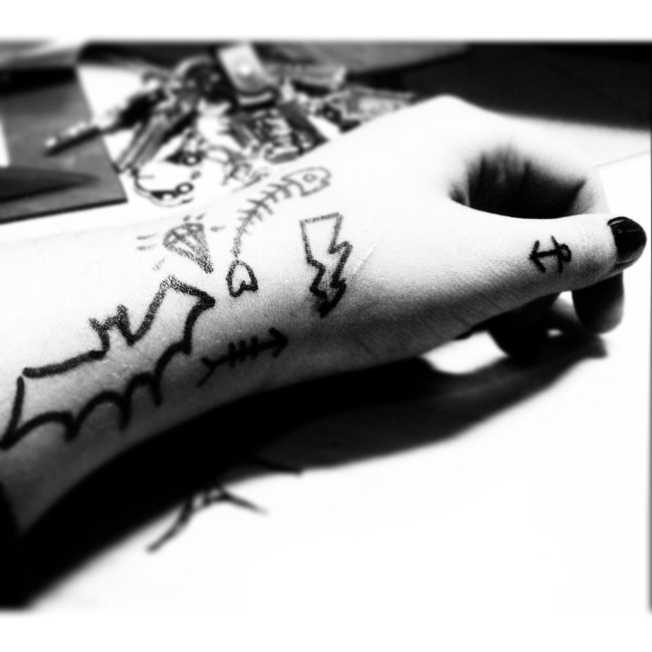 Tattoo Hand Art Black & White