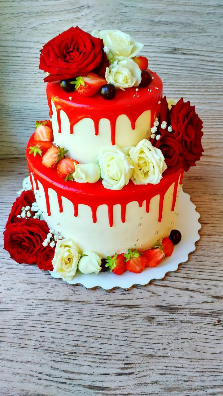 sweet food, food and drink, freshness, food, indulgence, table, temptation, still life, dessert, unhealthy eating, no people, red, ready-to-eat, indoors, wood - material, flower, close-up, celebration, day
