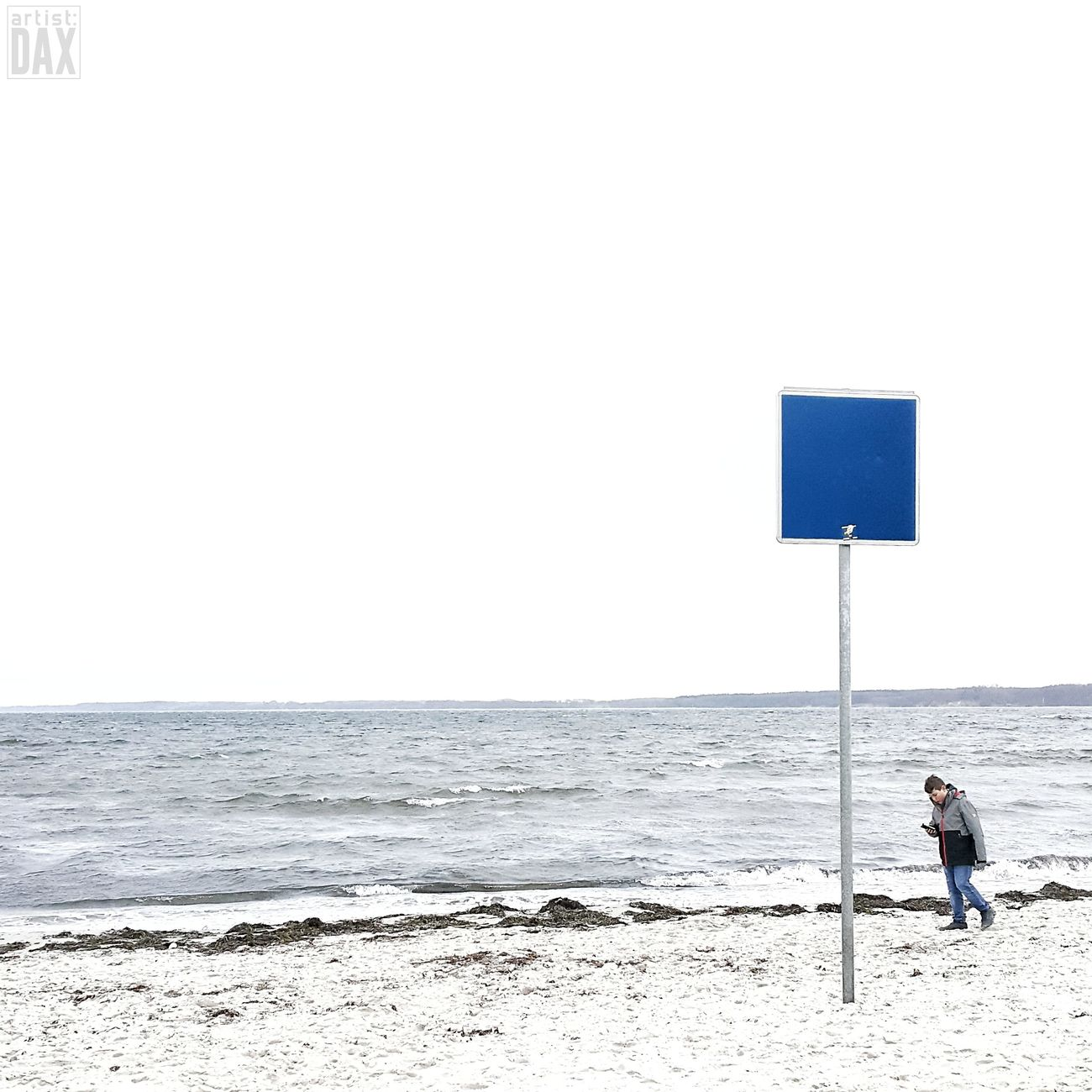 Blue sign with smombie artist:DAX PHOTOGRAPHOHOLIC I born to capture | Sea Beach Outdoors One Person Day People One Man Only Minimalplanet Germany 🇩🇪 Deutschland EyeEm Gallery ArtistDAX Simplicity Minimalmood Minimalism Photography Simple Elegance Real People Germany Schleswig-Holstein Water Nature Landscape At The Seaside Ostseestrand Ostseeküste