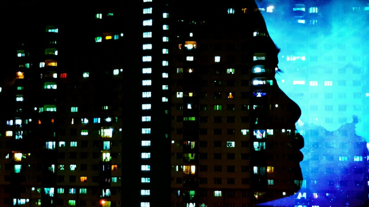 architecture, city, building exterior, illuminated, skyscraper, built structure, modern, night, cityscape, city life, no people, outdoors, sky