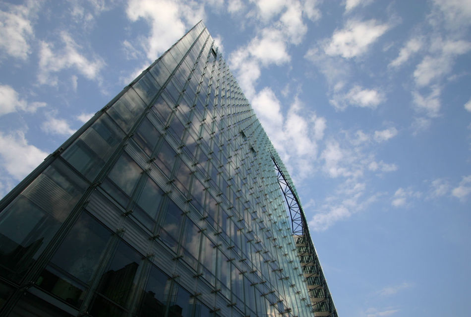 Architectural Feature Architecture Blue Brussel Brussels Skylines Building Building Exterior Built Structure City City Life Cloud Cloud - Sky Day Development Façade Geometric Shape High Section Low Angle View Modern Office Building Outdoors Reflection Sky Skyscraper Tall - High