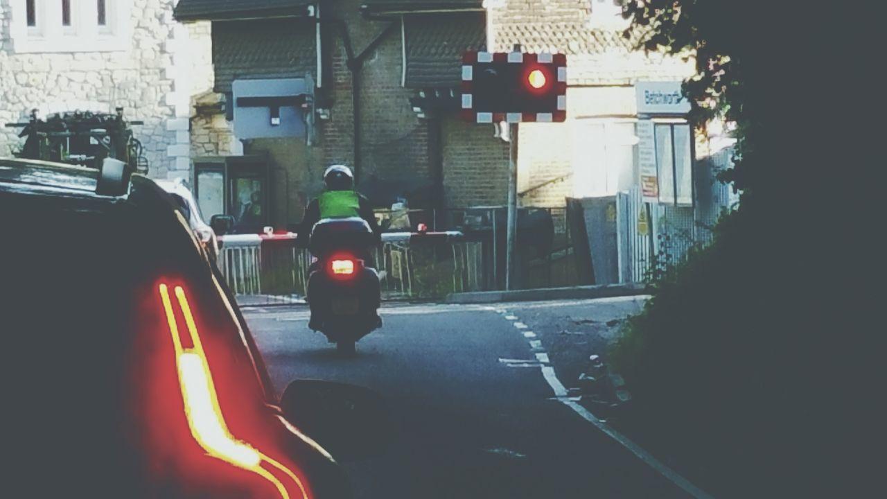 Brake Lights Train Crossing Driving My View