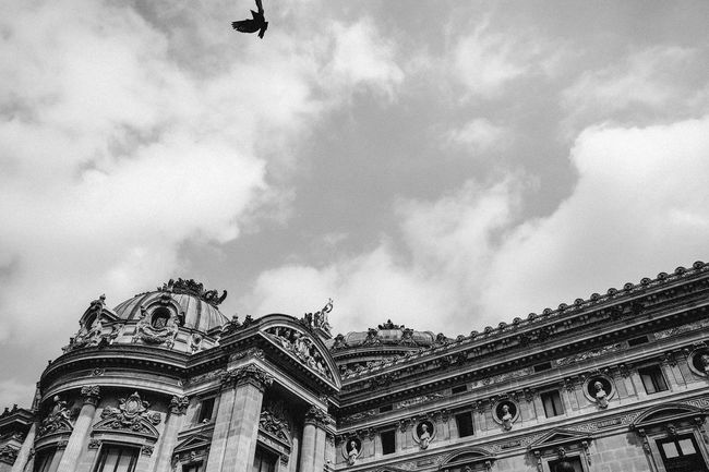 Un moment. Architectural Feature Architecture Building Exterior Built Structure City City Life Cloud - Sky Cloudy Day Famous Place History Low Angle View Opéra Paris Architecture Paris Black And White Paris Geometric Paris Opera Sky Spirituality Tourism Travel Destinations Urban Geometry
