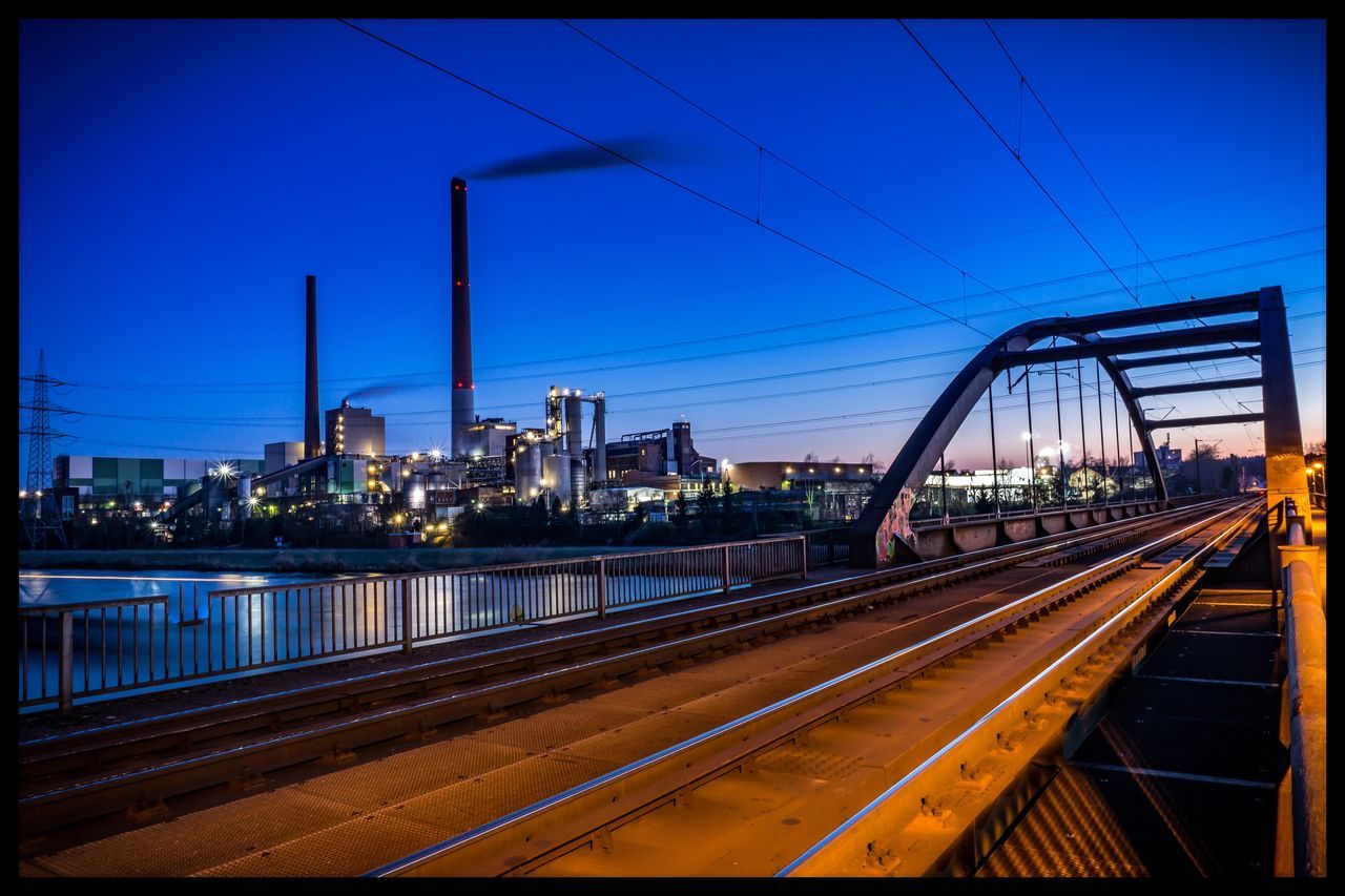 Industry Urban Factory City Architecture Clear Sky River No People Modern Blue Hour Fabrik Fabric Industrie Main
