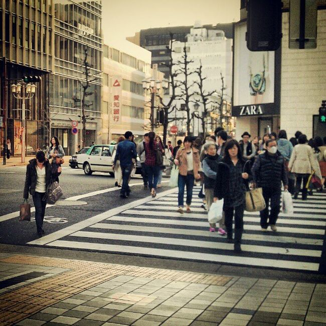 View after work Japan Lachic Sakae Intersection Crosswalk Evening