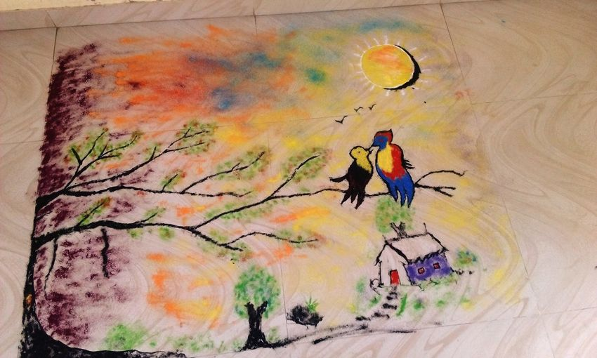 Rangoli India My_art_my_soul MYArtwork❤ Colorful Sunset Not_a_painting No People Multi Colored Mobilephoto 5mpcamera Grasses Birds🐦⛅ Valantine_week Love♥ Resist