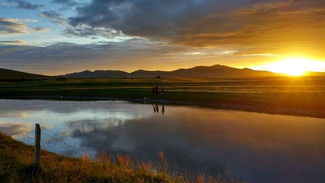 Sunset Traveling Grassland Golden Hour