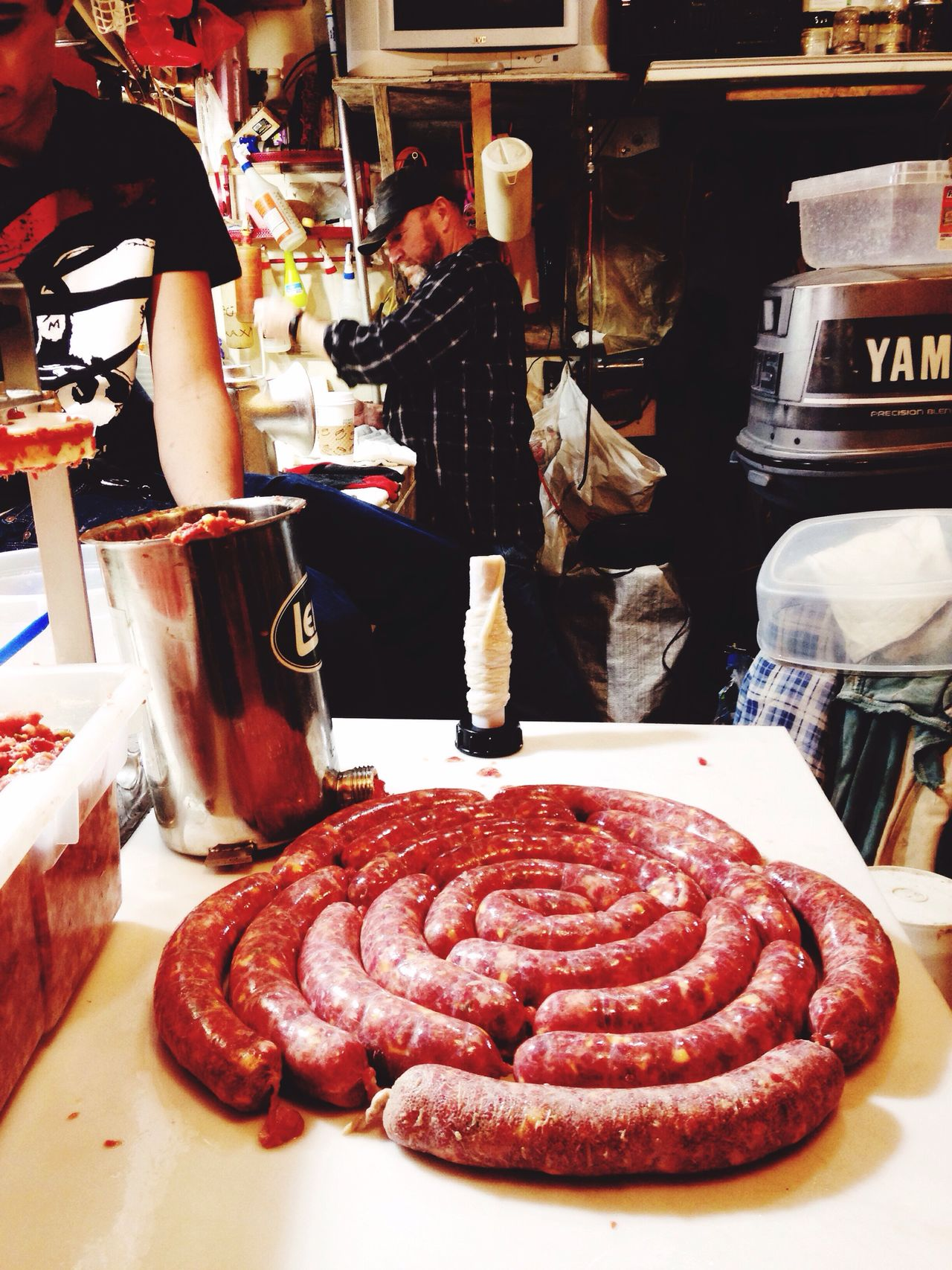 Handmade For You Amazing fresh homemade sausage right out of the garage , just the perfect setup . Friends come together and help each other making different flavors and some with cheese. What an abundance to share and soooo good looking . Let's break out the sourkraut....Oh and the beer of choice🍺🍺