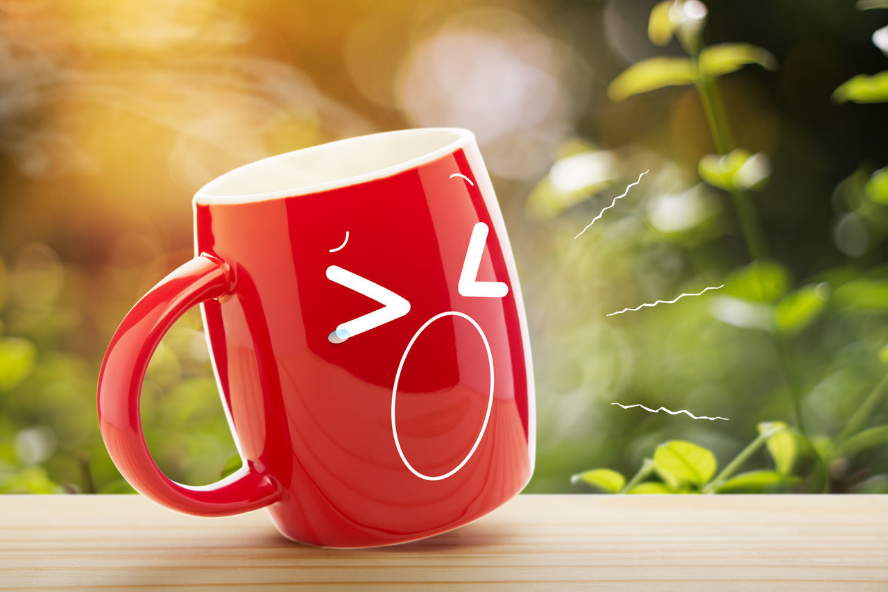 Red coffee cup yawning Cartoon Charecter Coffee Cup Day Face Funny Faces Good Hot Hot Drink Lighting Monday Morning Mug Nature Red Sleep Sleepy Sunlight Table Tea Time Wooden Yawn Yawning
