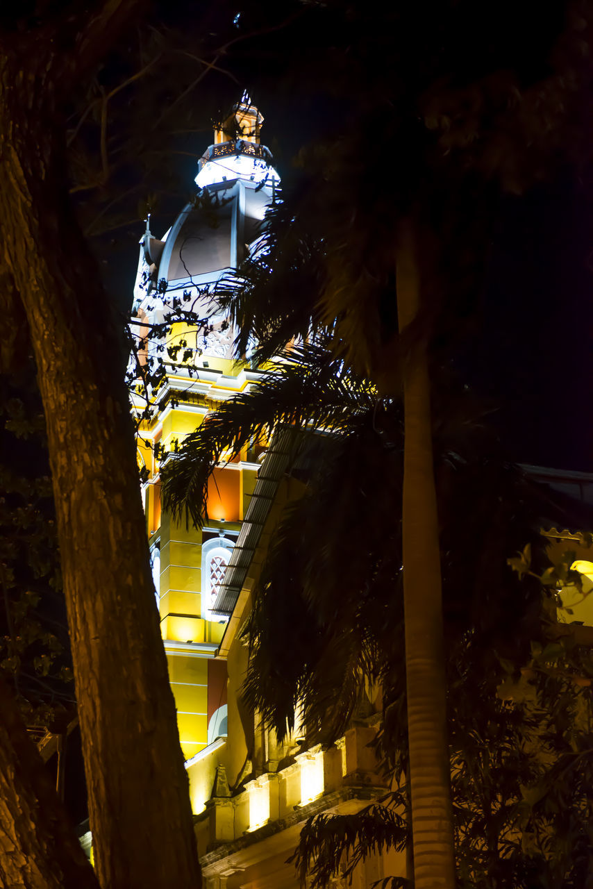 religion, architecture, place of worship, built structure, spirituality, tree, low angle view, gold colored, illuminated, night, no people, building exterior, hanging, outdoors, lantern