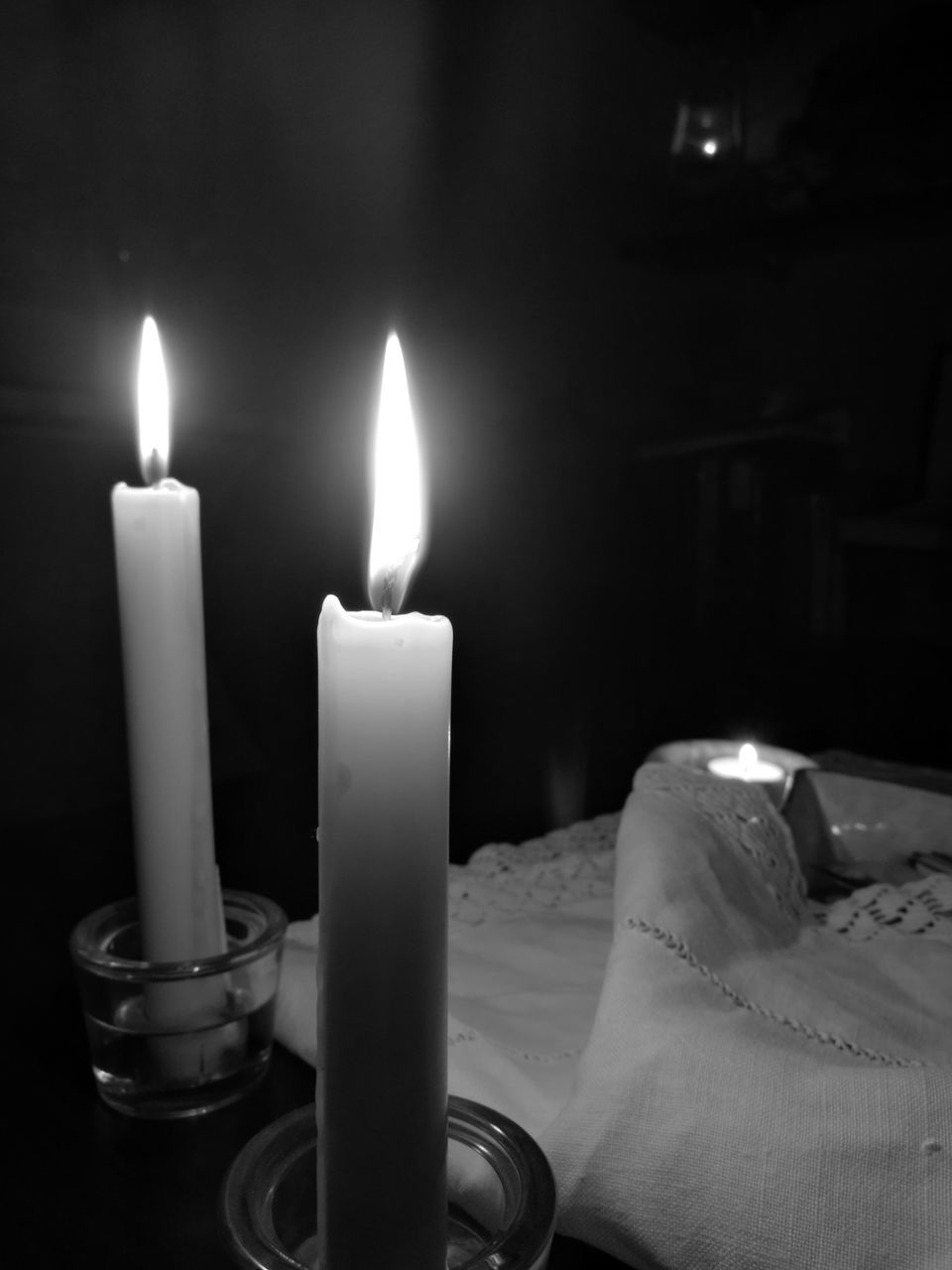 candle, flame, burning, illuminated, glowing, heat - temperature, lighting equipment, table, indoors, close-up, no people, night