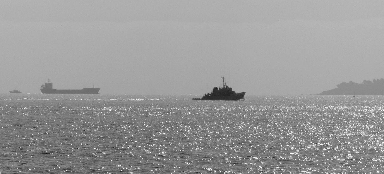 Black & White Blackandwhite Boat Bretagne Calm Clear Sky Horizon Over Water Lorient Marine Mid Distance Mode Of Transport Morbihan Nautical Vessel Noir Et Blanc Ocean Outdoors Scenics Sea Seascape Ship Tranquil Scene Tranquility Water Waterfront
