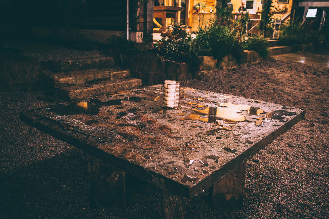 Abandoned Cornwall Cornwall Uk Damaged Day Destruction Deterioration Leading Log Metal Obsolete Old Outdoor Photography Rain Rain On Table Ruined Rusty Stone Table Wall Weathered Wood Wooden