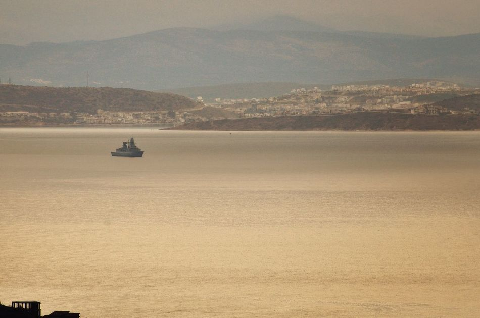 This side, Greece. Other side Turkey. In between NATO forces. Aegean Sea Neighborhood World Peace (?) Warship Nautical Vessel View From The Top Landscape Early Morning Morning Light Calm Sea Outdoors Nikonphotography Malephotographerofthemonth Full Frame Full Length Uniqueness Miles Away