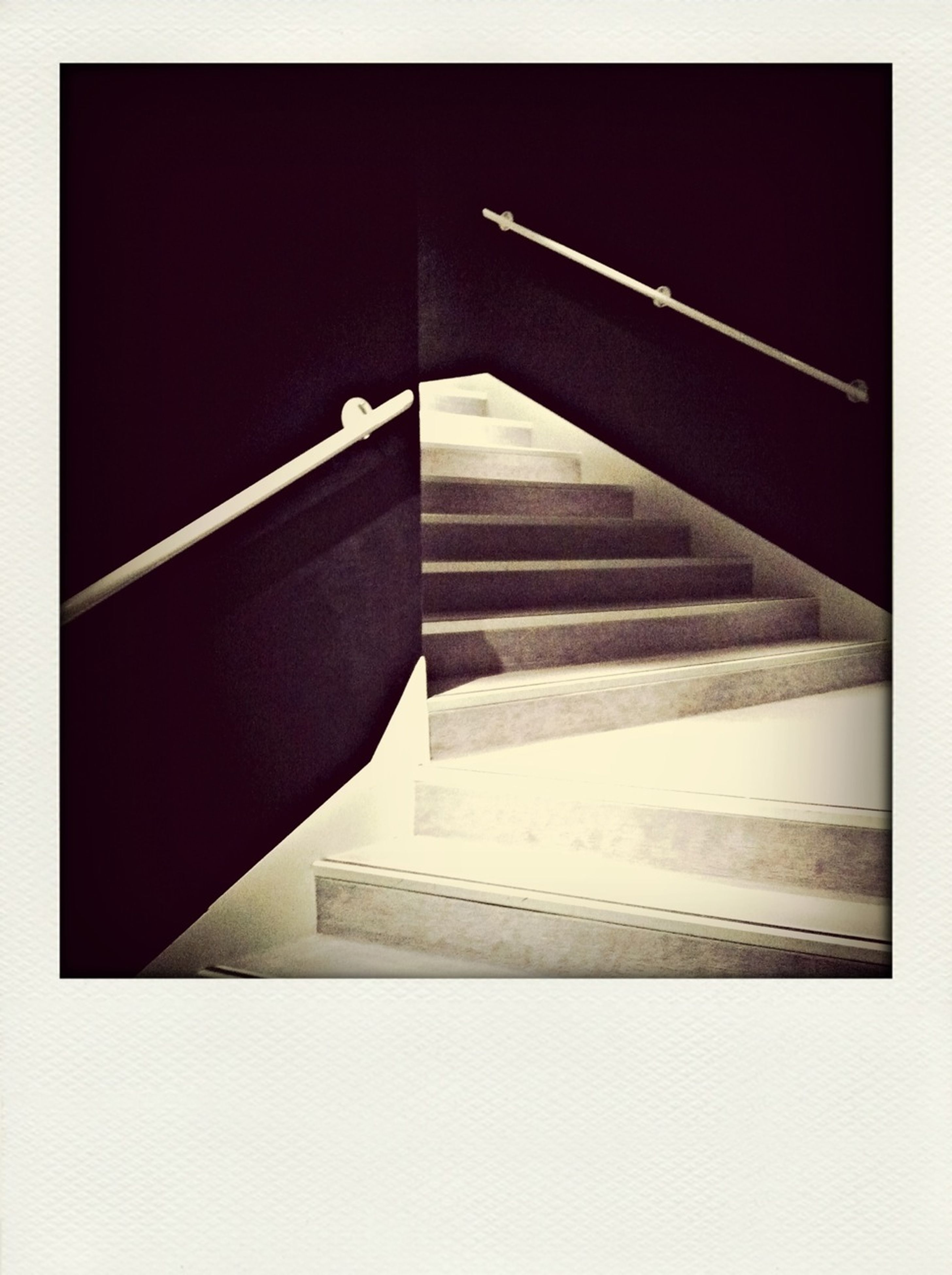 architecture, built structure, transfer print, auto post production filter, low angle view, steps and staircases, steps, building exterior, staircase, railing, modern, no people, building, indoors, copy space, city, day, connection, sunlight
