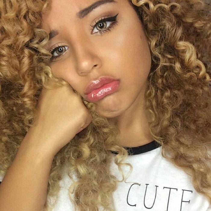 JadahDoll Contacts Eyebrows On Fleek Makeup Curly Hair Natural Hair Mixed Girl Model Gorgeous Aesthetics