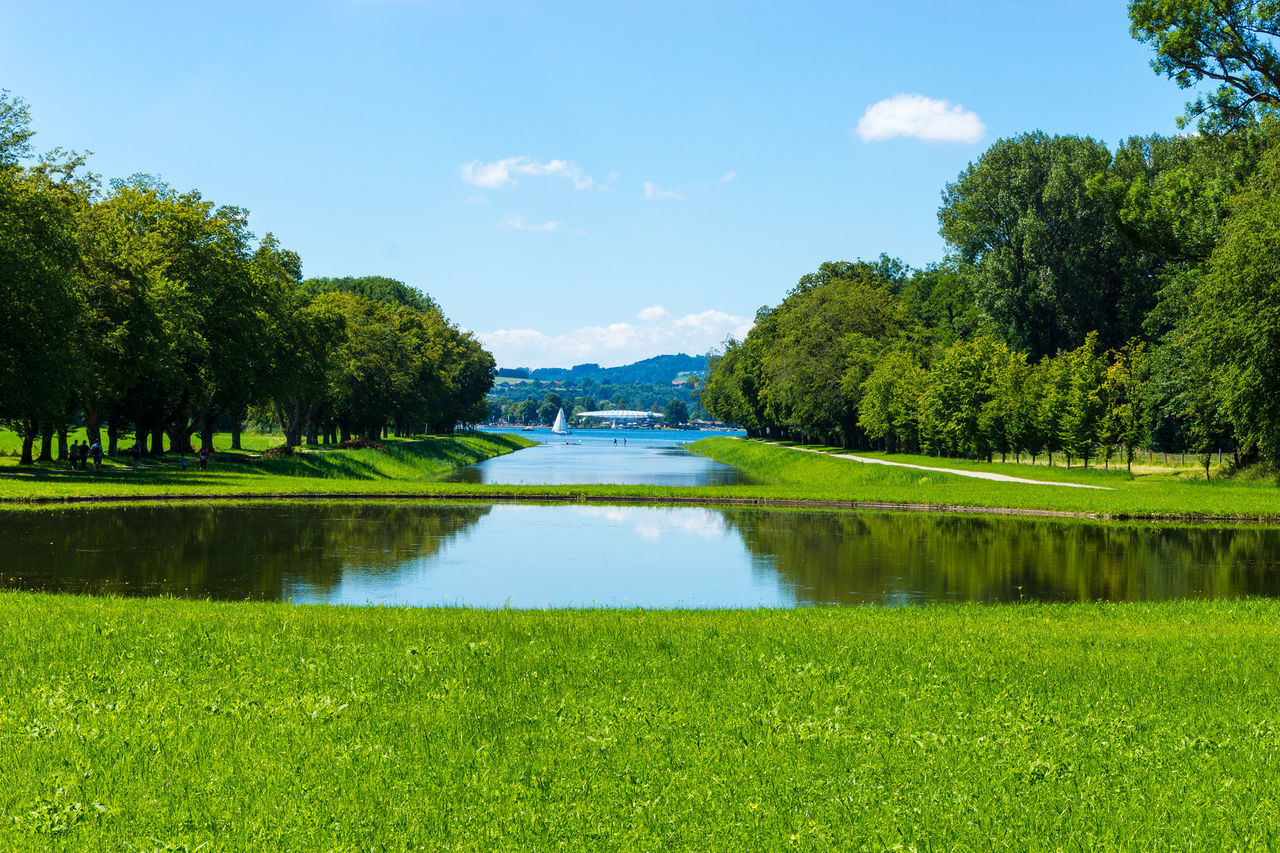Park Beauty In Nature Cloud - Sky Day Grass Green Color Growth Lake Nature No People Outdoors Reflection Scenics Sky Standing Water Tranquil Scene Tranquility Tree Water