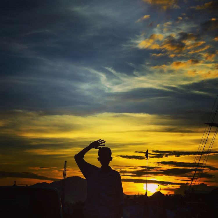 Sunset One Person One Man Only Silhouette Nature Landscape_Collection Street Photography Nature_collection Nature Photography Silhouette Indonesia Photography  Florestimur