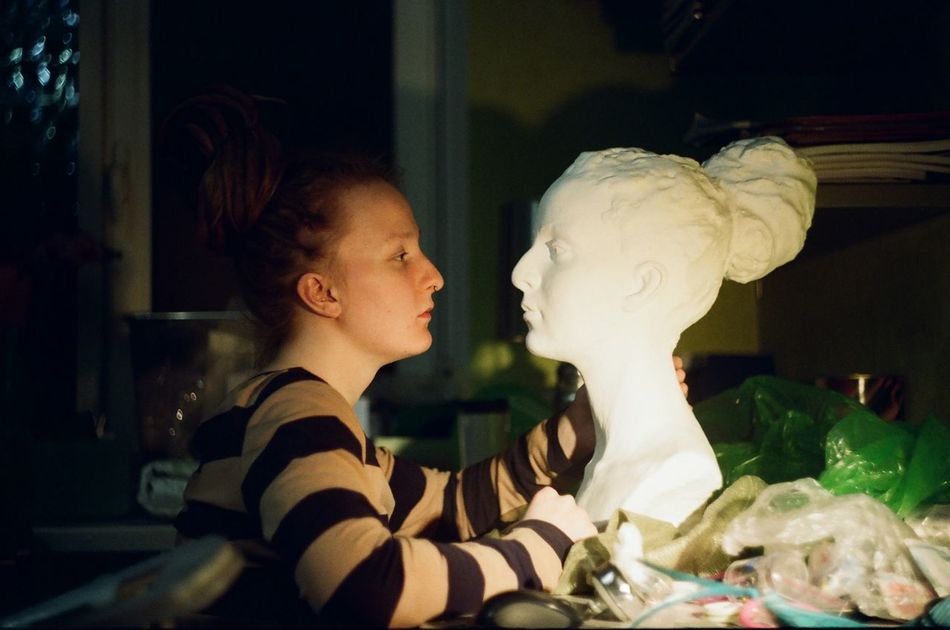 35mm 35mm Film Film Film Photography Indoors  Night One Person Portrait Side View Statue