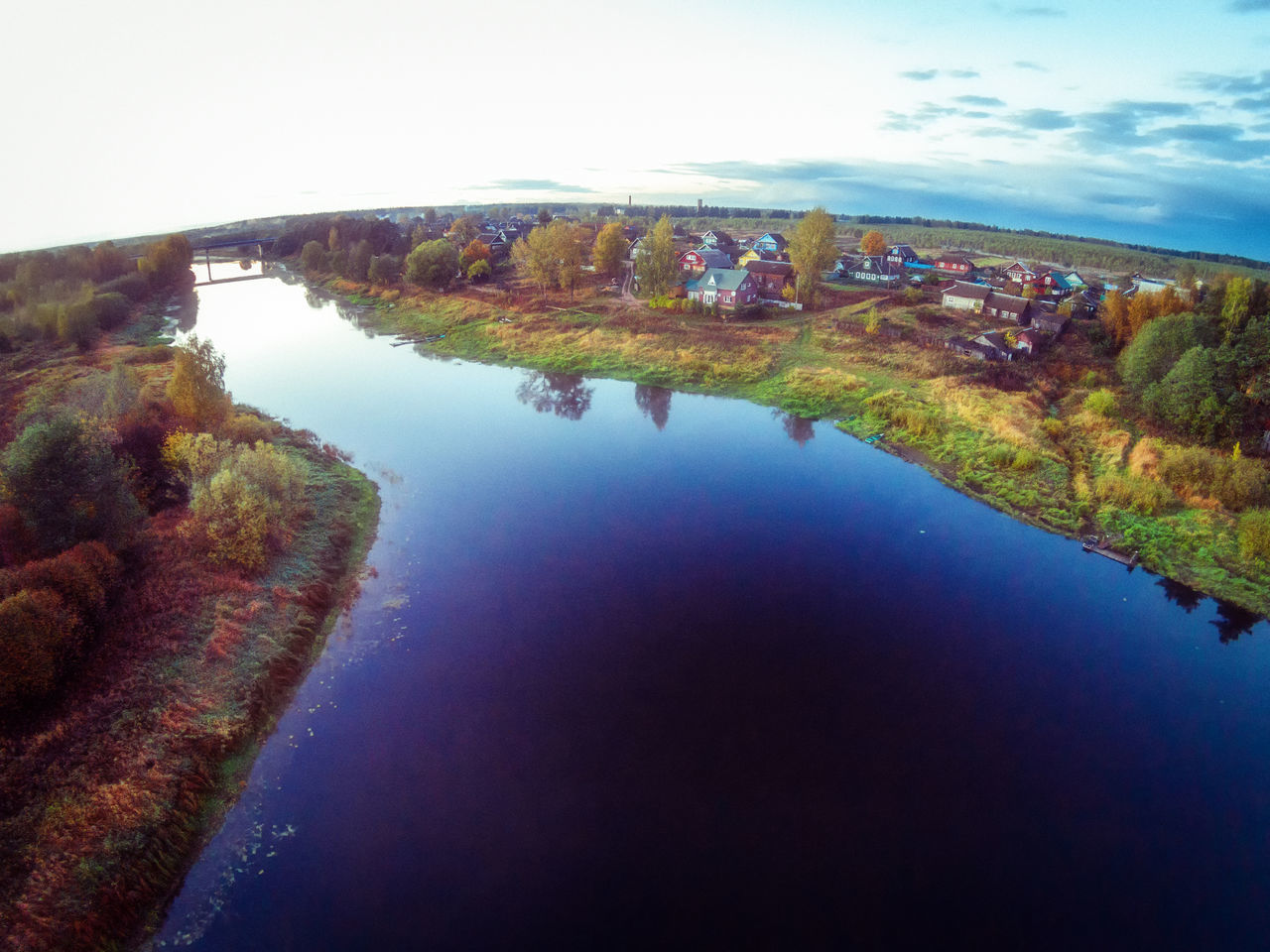 The village on the banks of the river Mologa. One of the many villages Maksatihinsky district of Tver region. Bridge Countryside Day Evening Lake Landscape Mologa Multi Colored Nature No People Outdoors Reflection River Rural Scene Scenics Sky Village Water