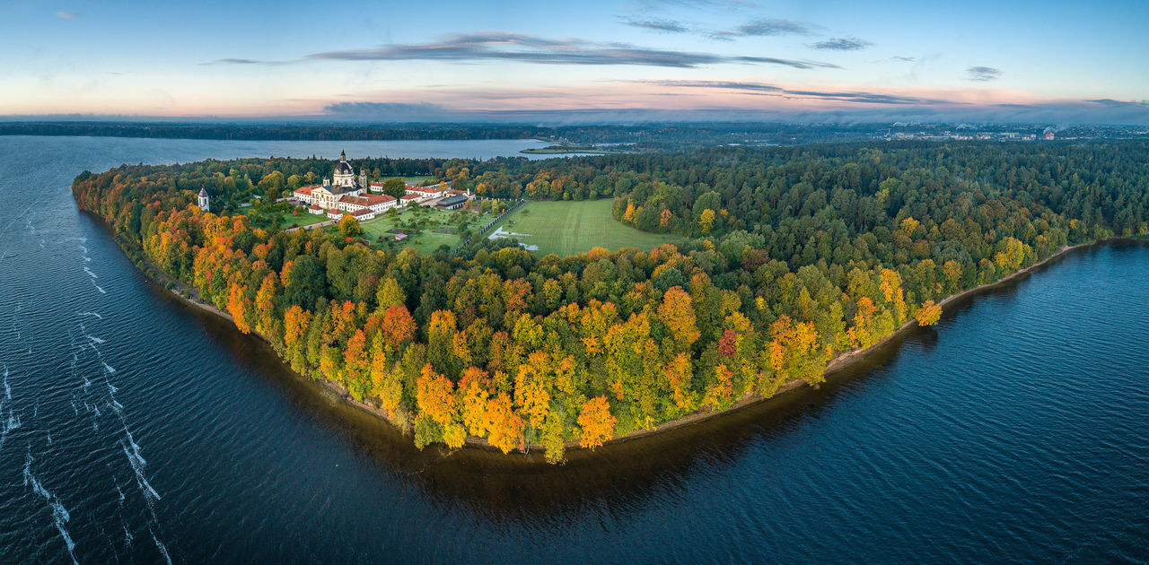 Pažaislis Monastery, Kaunas, Lithuania Architecture Drone  Monastery Pazaislis Monastery Aerial View Beauty In Nature Cloud - Sky Day High Angle View Idyllic Landscape Mavic Pro Nature Nautical Vessel No People Outdoors Scenics Sea Sky Sunset Tranquil Scene Tranquility Tree Water Waterfront