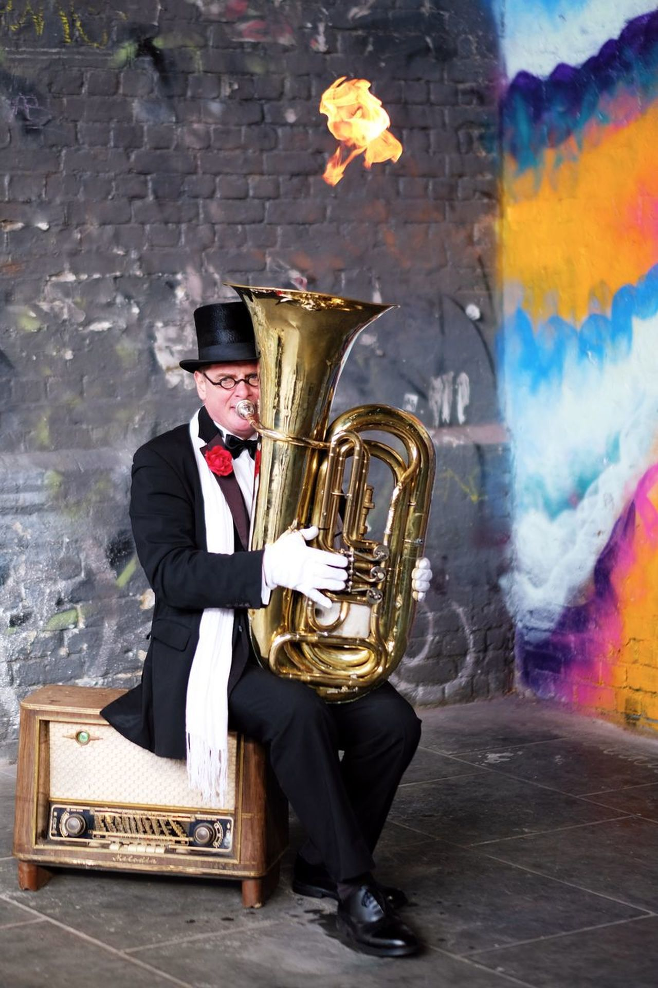 Music Musical Instrument Suit Performance Musician Man Fire Fireworks Playing Art Portrait Entertainment Old-fashioned Gentleman  People Tuba One Person Street Graffiti Street Photography EyeEm Best Shots Check This Out Flame in London , United Kingdom