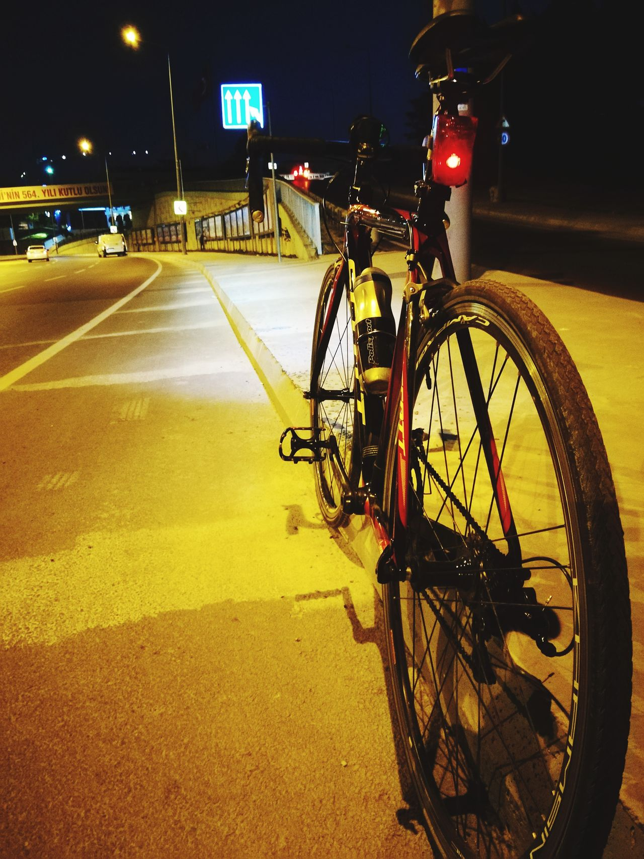 Bicycle Night Illuminated Outdoors City No People Sky
