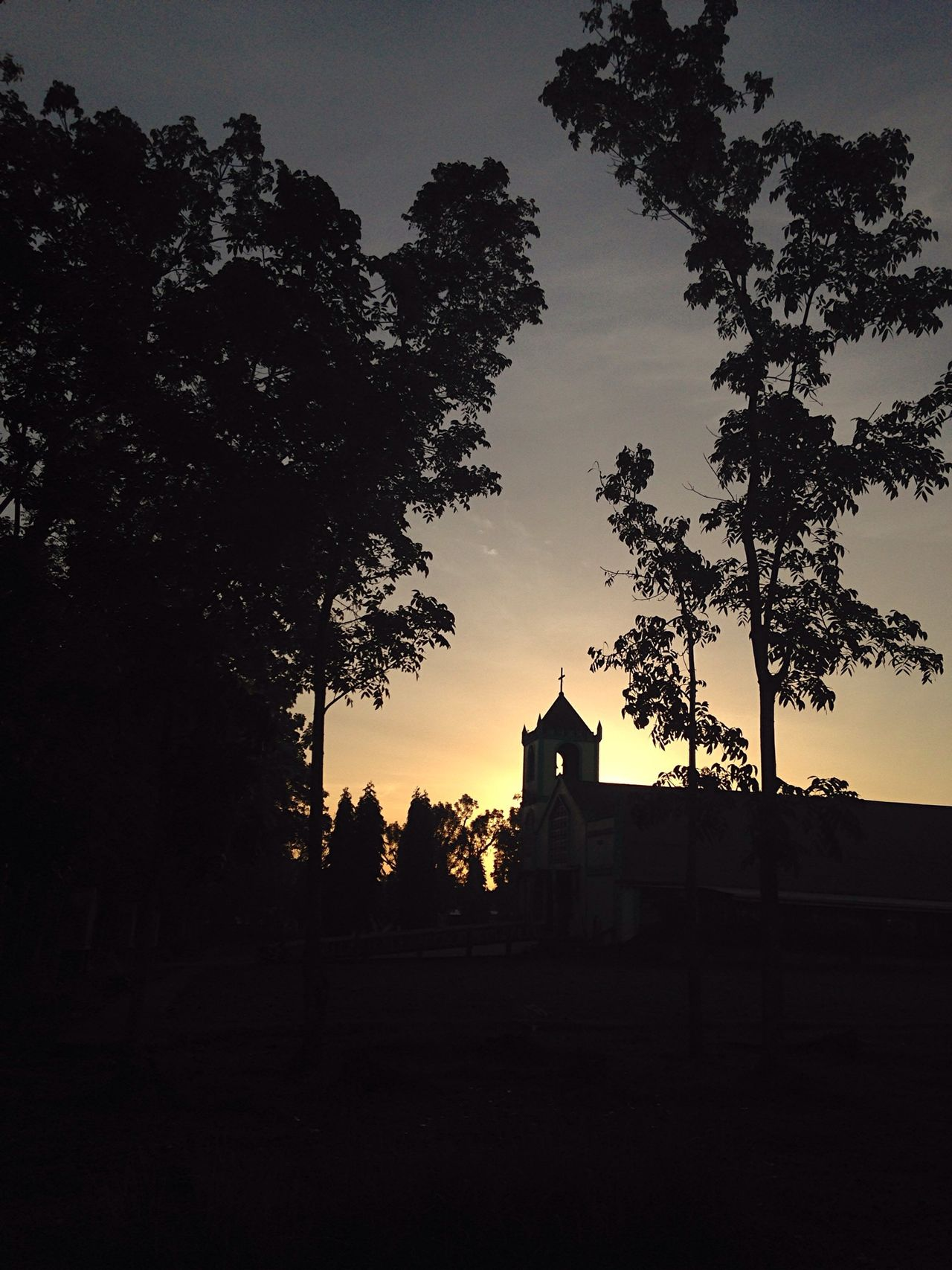 Church Early Mornings Trees And Sky Cross Colored Sky Sunrise_Collection Silhouette Black Walking Town Church Our Place IPhone Photography