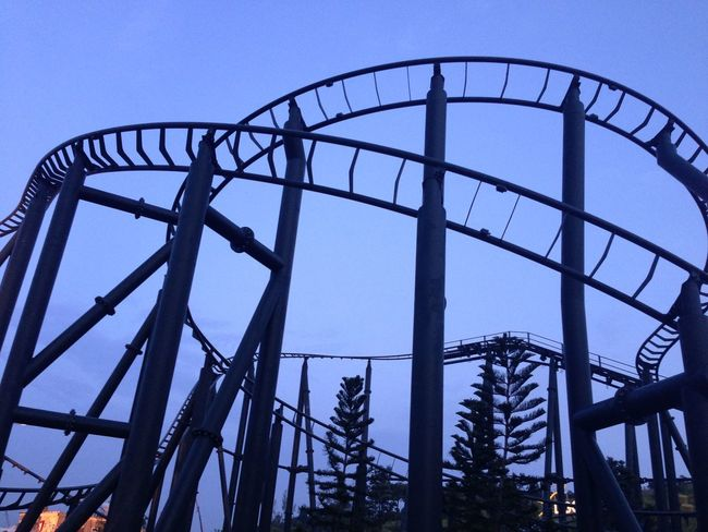 Amusementpark Architecture Blue Bridge Bridge - Man Made Structure Built Structure Connection Diminishing Perspective Engineering Fence Long Metal Metallic Modern Railing Railway Roller Coaster Sky Staircase The Way Forward Seeing The Sights Silhouette