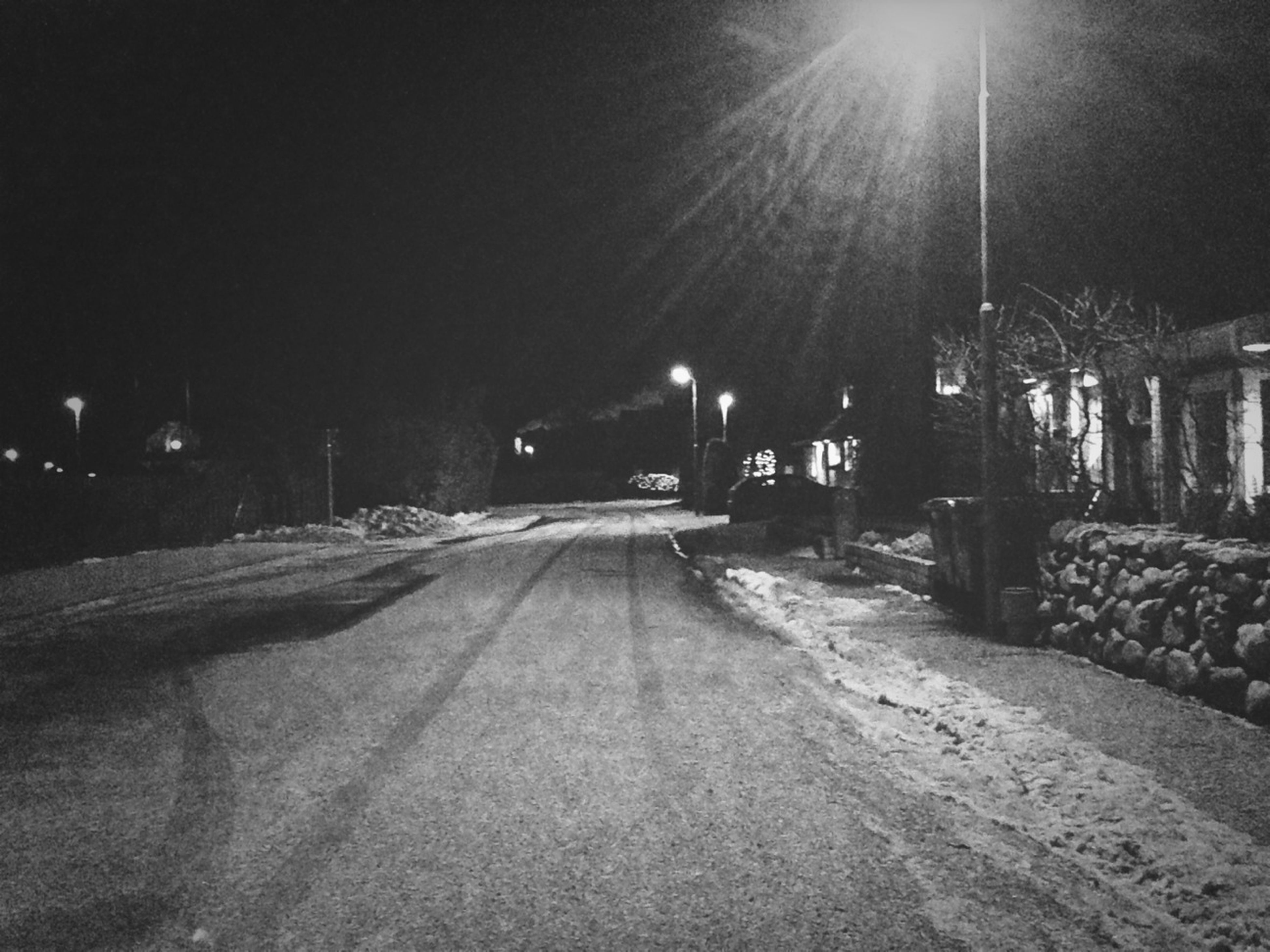 the way forward, night, transportation, diminishing perspective, vanishing point, illuminated, road, street light, empty, street, long, empty road, lighting equipment, outdoors, built structure, no people, absence, lens flare, sunlight, clear sky