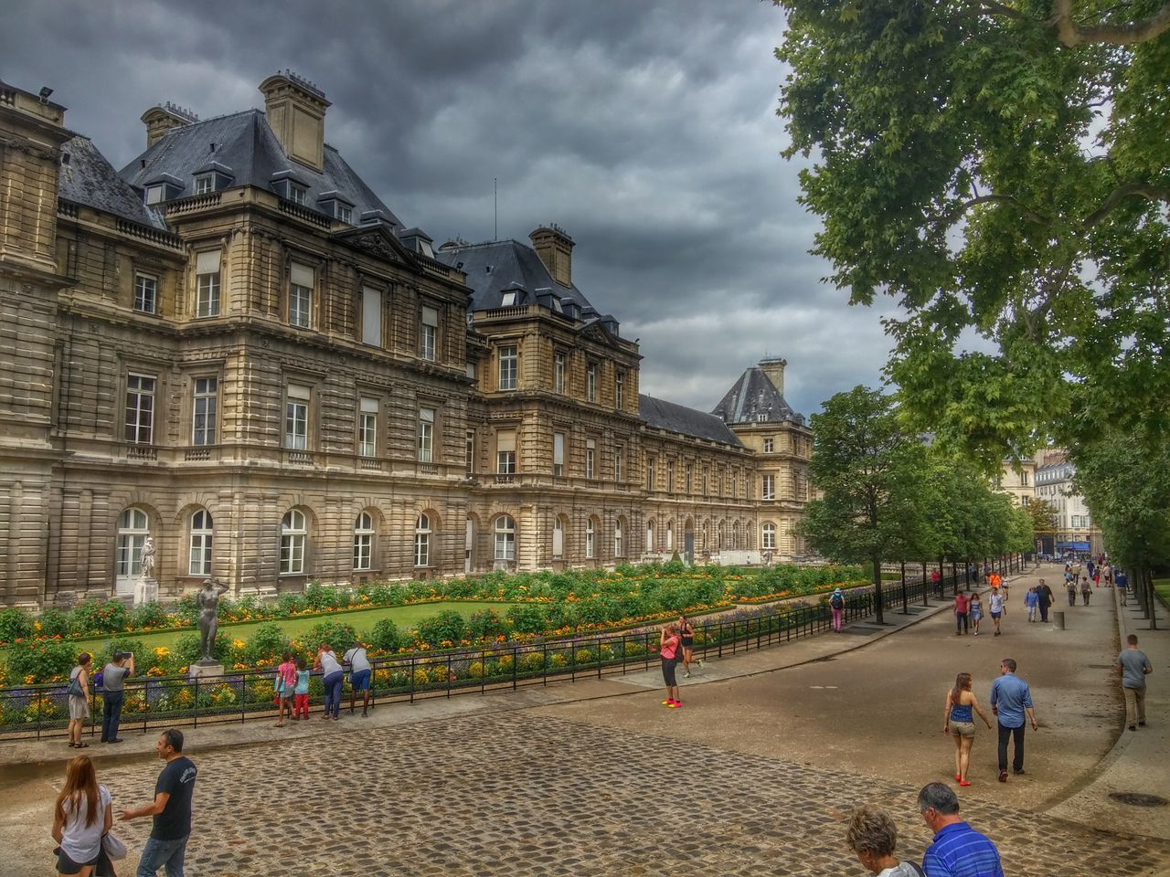 Architecture Travel Destinations Built Structure Cloud - Sky Sky People Building Exterior Large Group Of People Outdoors Day City Crowd Tree Politics And Government Paris ❤ Jardin Du Luxembourg Honeymoon
