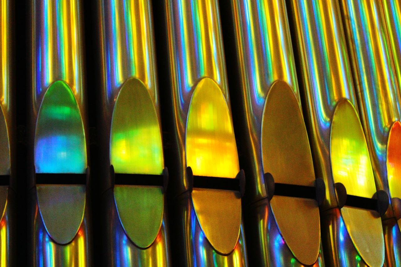 No People Indoors  Multi Colored Close-up Organ Pipes Organ Orgel Church Sagrada Familia Colour Light Reflection Light Colour Reflection Rainbow Colors