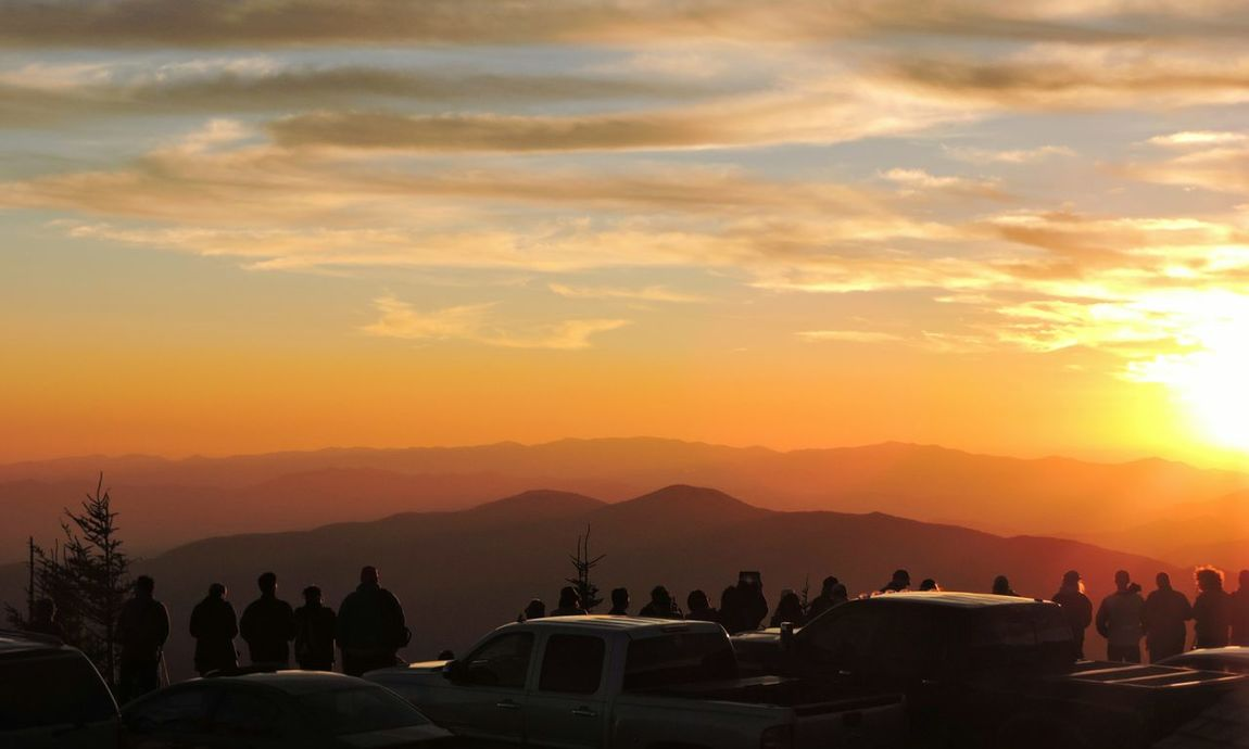 A crowd gathering to watch the sunset, near the summit of Clingmans Dome in the Great Smoky Mountains National Park. Sunset Smoky Mountains Great Smoky Mountains  Silhouettes Dusk Evening Hiking Hikingadventures Nature Natural Beauty Crowd Taking Photos Sky Evening Sky Orange Sky Clouds And Sky Mountains Mountain View Ridgeline Appalachian Mountains Tennessee Smokies Magical Moments Atmosphere High Point