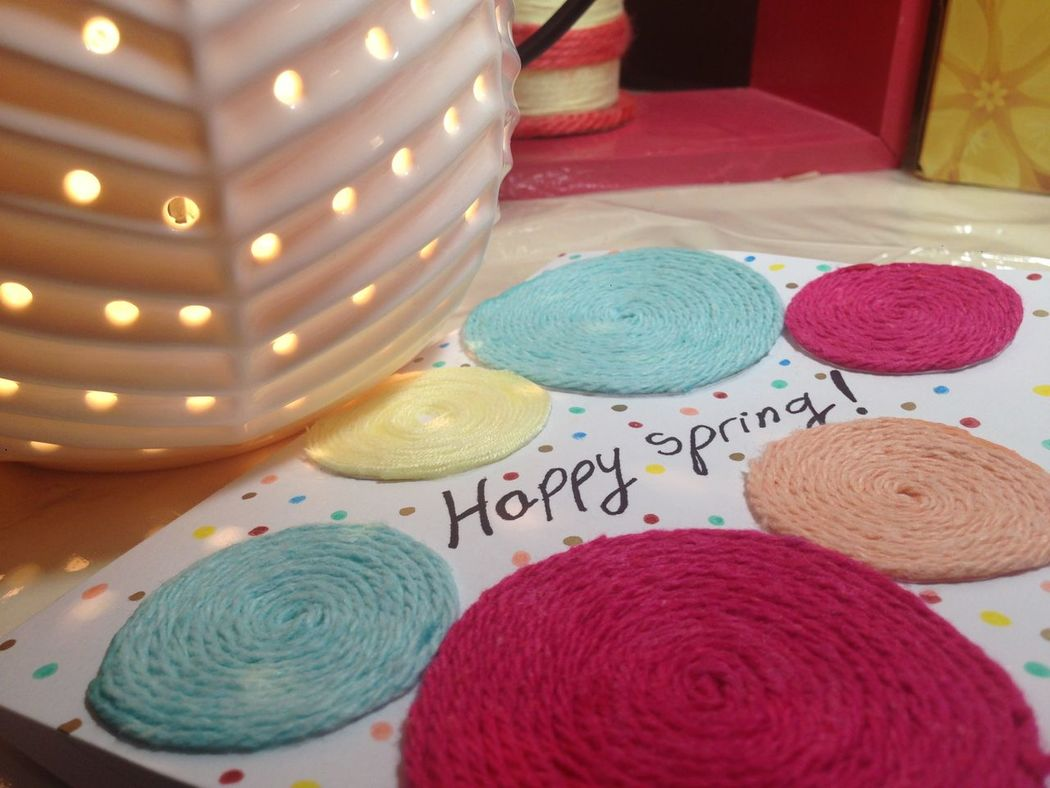 Cute DIY EyeEmNewHere Greetingcard Illuminated Made By Me Multi Colored Passion Spring Yarn