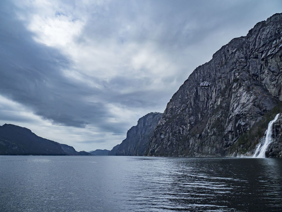 Beauty In Nature Cliff Cloud - Sky Day Landscape Lysefjord Mountain Nature No People Outdoors Scenics Sea Sky Tranquil Scene Tranquility Water