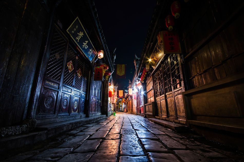 Nightview of Sanhe, the ancient town in Anhui, China Alley Ancient Architecture Built Structure Chinese Cinematic Classic Empty Illuminated Narrow Night Sanhe Shop Town Traditional Walkway