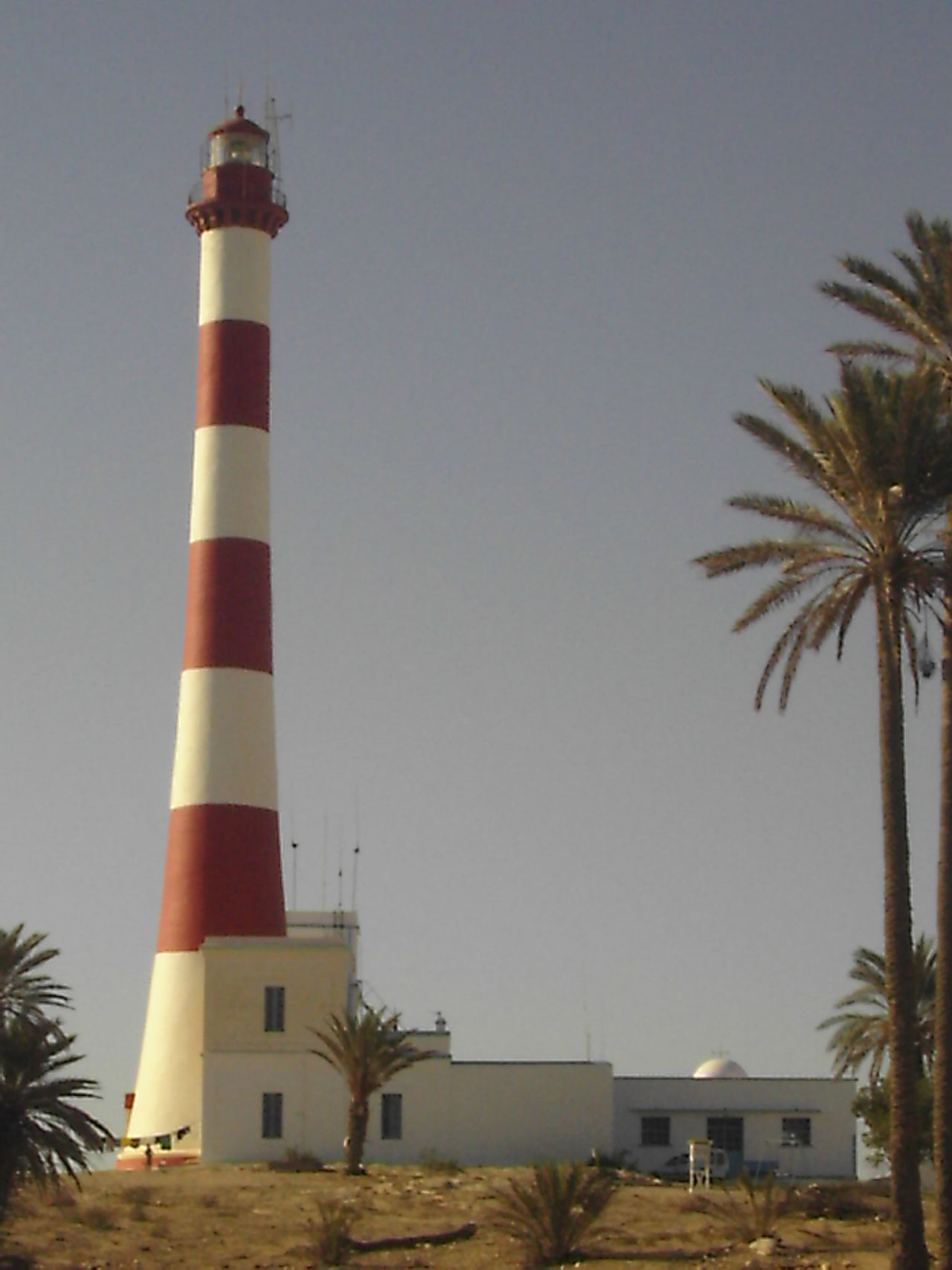Architecture Beach Blue Building Exterior Built Structure Clear Sky Djerba  Lighthouse Palm Tree Protection Sea Tower Tree Tunesia Tunesien