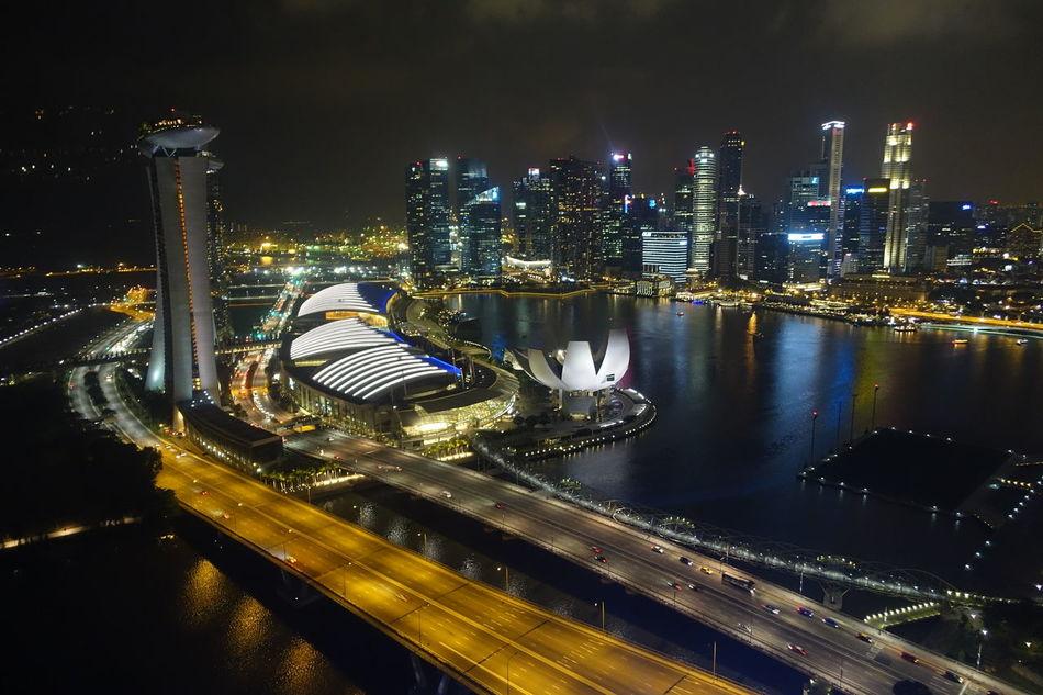 Architecture Building Exterior Cityscape Night Singapore Singapore View Singarpore By Night Skyscraper Travel Destinations Urban Skyline