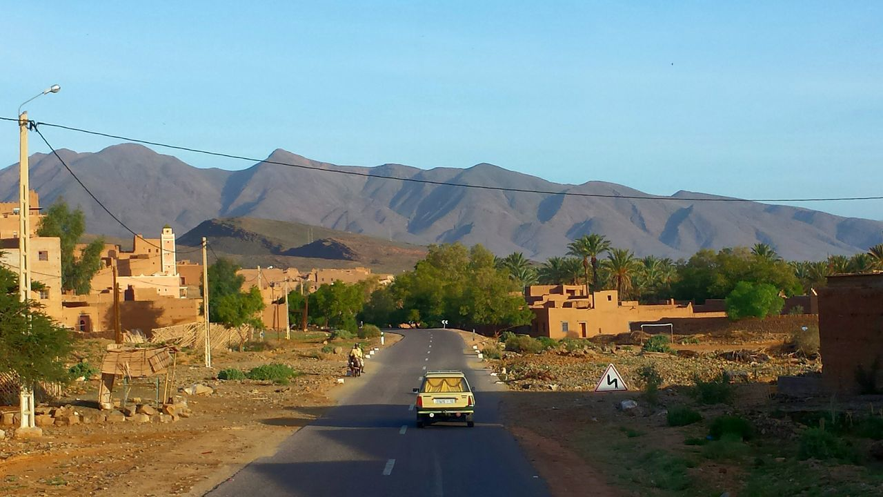 Morocco Colourful World Beautiful Nature Impressive Locations Round Trip Mountains And Sky Maroccan Architecture From A Bus Window Kasbahs Blue Sky