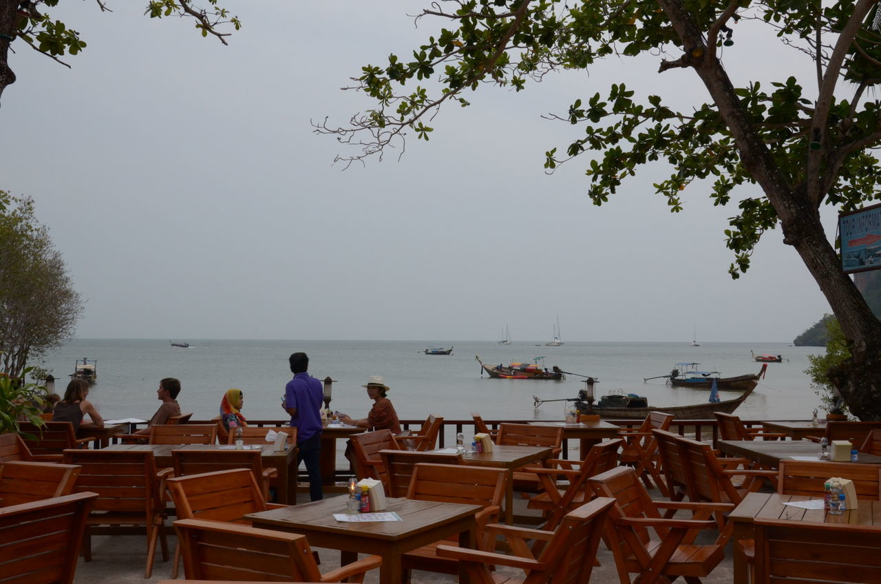 Chair Clear Sky Nature Outdoors People Sea Seaside Table Thai Restaurant Togetherness Tree Water