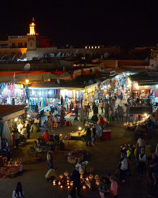 Traveling Travel Marrakech Marrakesh Marrakech Morocco La Medina De Marrakech Jemaa El Fnaa Jemaaelfna Nightphotography Night Lights Night Photography Nightlife Night Night View View from Cafe France, Evening market on the main square Jemaa el Fnaa, in the old medina in Marrakech