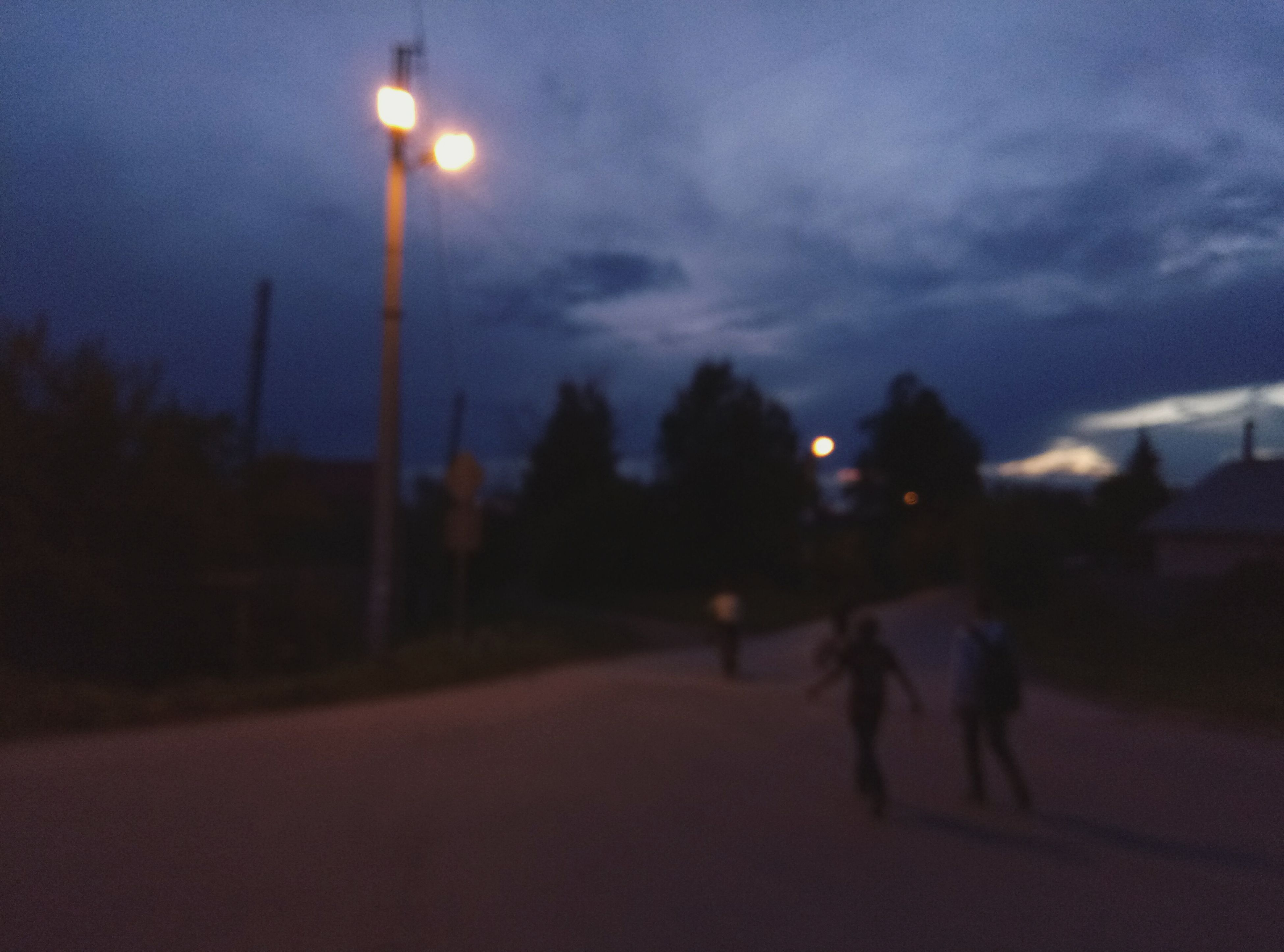 sky, illuminated, road, street light, night, outdoors, nature, sunset, tree, no people