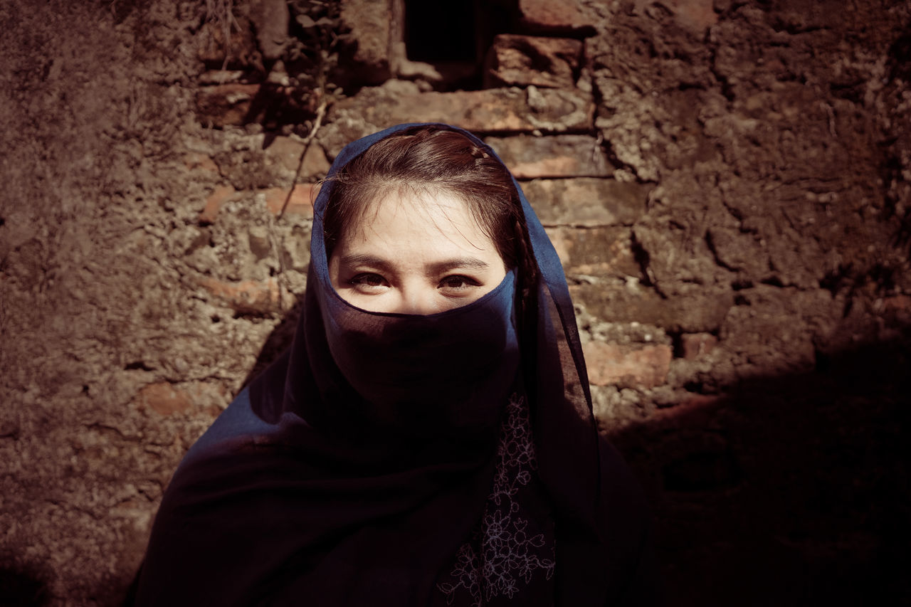 Cape  Close-up Covering Headshot Hiding Hood - Clothing Human Eye One Person Only Women Outdoors Peeking People Portrait Wrapped
